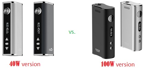 istick 40W and 100W mods comparison