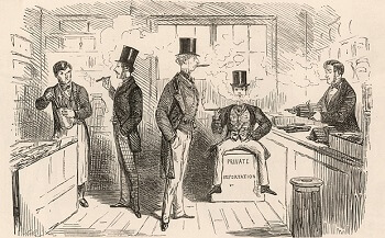 Old illustration of men in tobacco shop